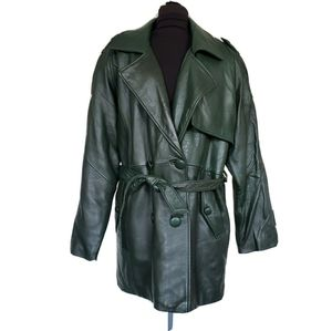 Vintage Dark Green Belted Leather Trench Coat M